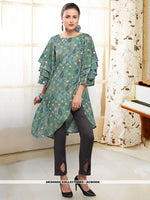 AC80506 - Dark Cyan Color Rayon Readymade Western Wear