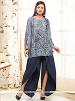AC80509 - Light Steel Blue Color Rayon Readymade Western Wear
