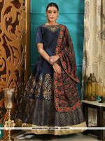 AC80931 - Navy Blue Color Silk Readymade Gown With Dupatta