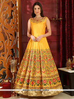 AC80934 - Yellow Color Silk Readymade Gown
