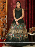 AC80935 - Dark Green Color Silk Readymade Gown