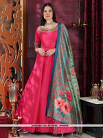 AC80936 - Pink Color Silk Readymade Gown With Dupatta