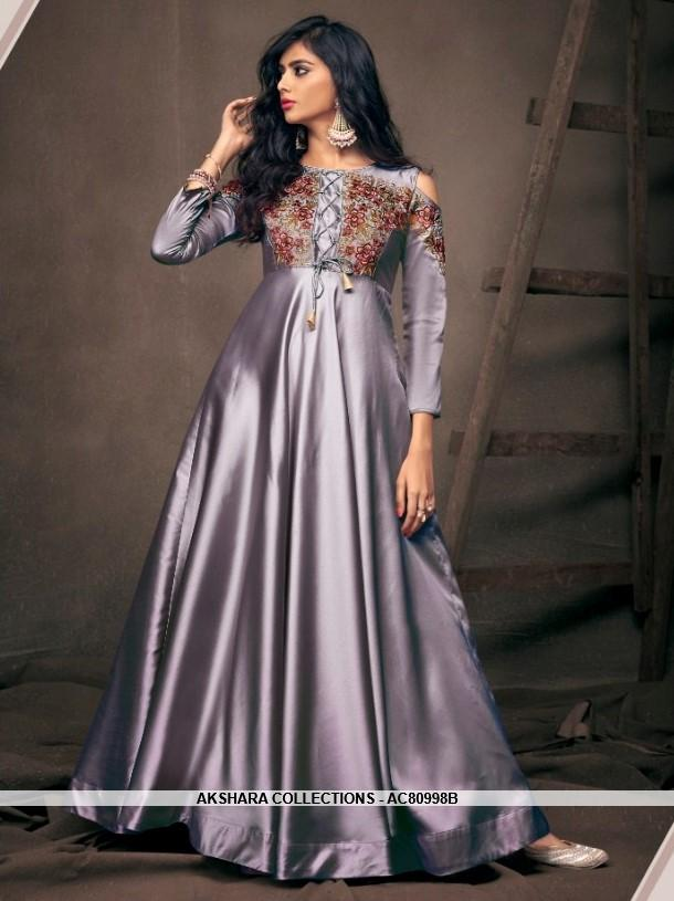 AC80998B - Grey Color Satin Silk Readymade Gown