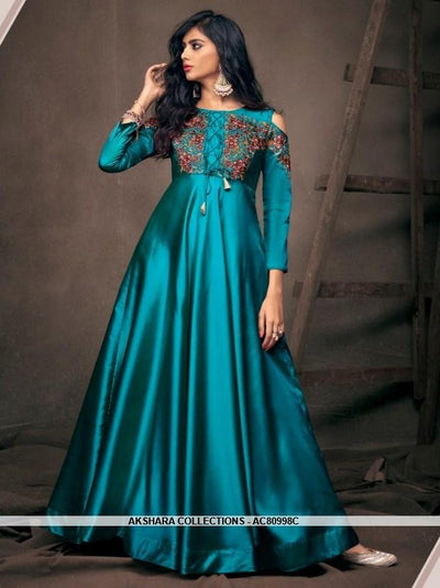 AC80998C - Blue Color Satin Silk Readymade Gown