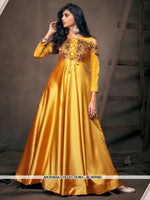 AC80998D - Yellow Color Satin Silk Readymade Gown