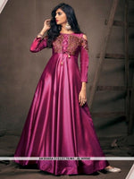 AC80998E - Dark Pink Color Satin Silk Readymade Gown