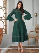 AC81079B - Dark Green Color Ira Magic Cotton Readymade Kurti
