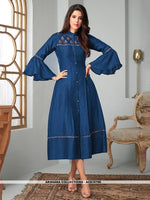 AC81079E - Blue Color Ira Magic Cotton Readymade Kurti