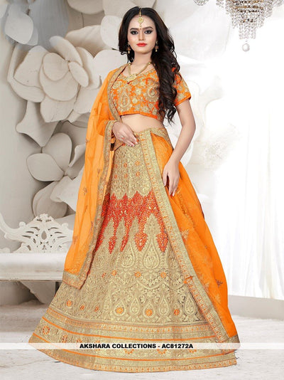 AC81272A - Beige Color Net Lehenga Choli