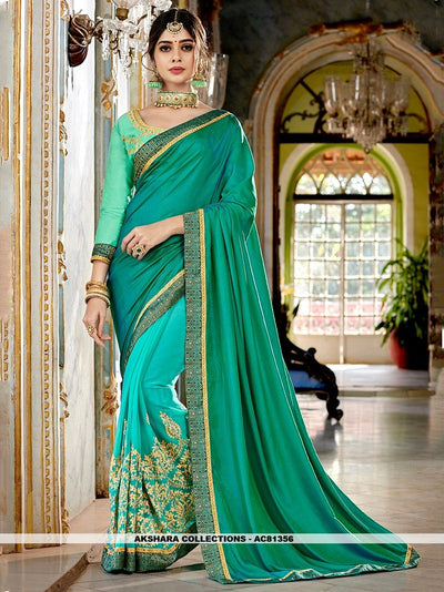 AC81356 - Teal and Turquoise Color Georgette Half n Half Saree