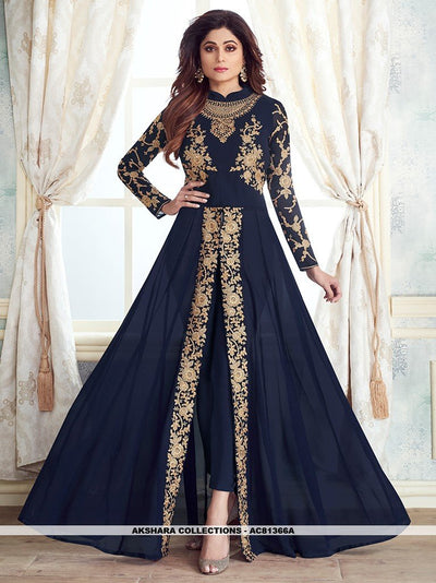 AC81366A - Navy Blue Color Georgette Anarkali Suit