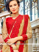 AC81373 - Beige and Red Color Georgette Saree