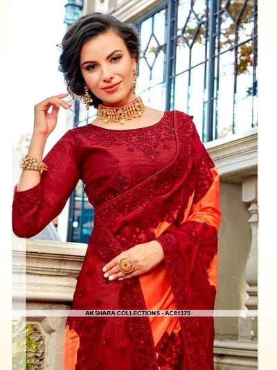 AC81375 - Orange and Red Color Georgette Saree