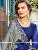 AC81377 - Grey and Blue Color Georgette Saree