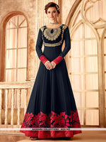 AC81383 - Navy Blue Color Georgette Anarkali Suit