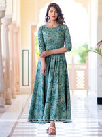 AC81443 - Light Aqua Color Pure Maslin Readymade Gown