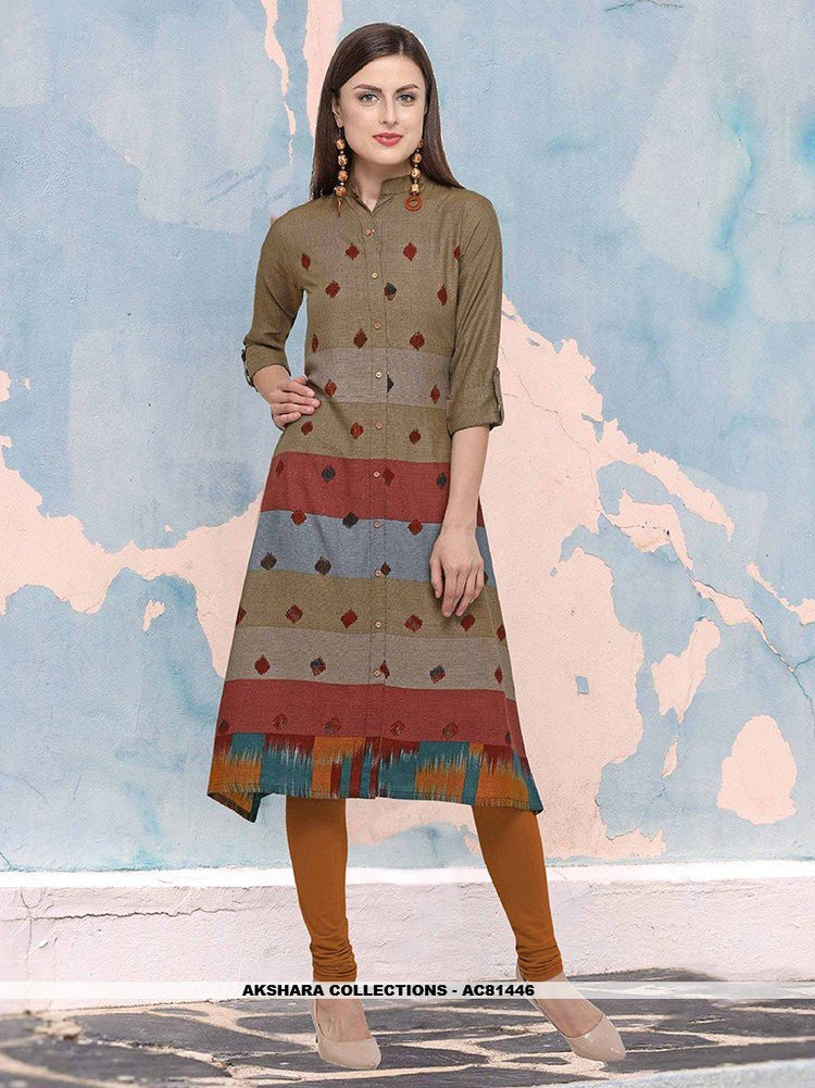 AC81446 - Multi Color Color Heavy Rayon Readymade Kurti