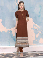 AC81447 - Brown Color Heavy Rayon Readymade Kurti