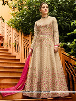 AC81526 - Beige Color Art Silk Anarkali Suit