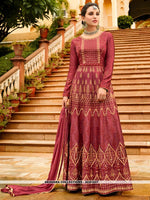 AC81527 - Dark Pink Color Art Silk Anarkali Suit