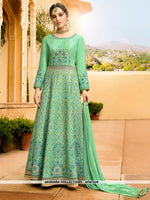 AC81528 - Sea Green Color Art Silk Anarkali Suit