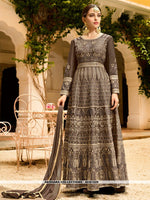AC81529 - Dark Grey Color Art Silk Anarkali Suit