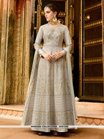AC81530 - Light Grey Color Art Silk Anarkali Suit