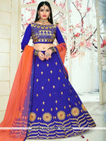 AC81533BU - Blue Color Tafeta Silk Lehenga Choli