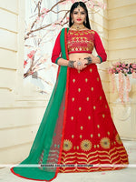 AC81533RD - Red Color Tafeta Silk Lehenga Choli