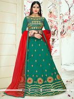 AC81533RM - Rama Green Color Tafeta Silk Lehenga Choli