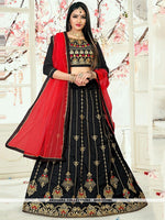 AC81534BL - Black Color Tafeta Silk Lehenga Choli