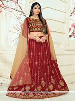 AC81534MR - Maroon Color Tafeta Silk Lehenga Choli
