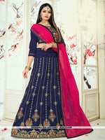 AC81534NB - Navy Blue Color Tafeta Silk Lehenga Choli