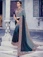 AC81556 - Grey and Steel Blue Color Shaded Silk Saree