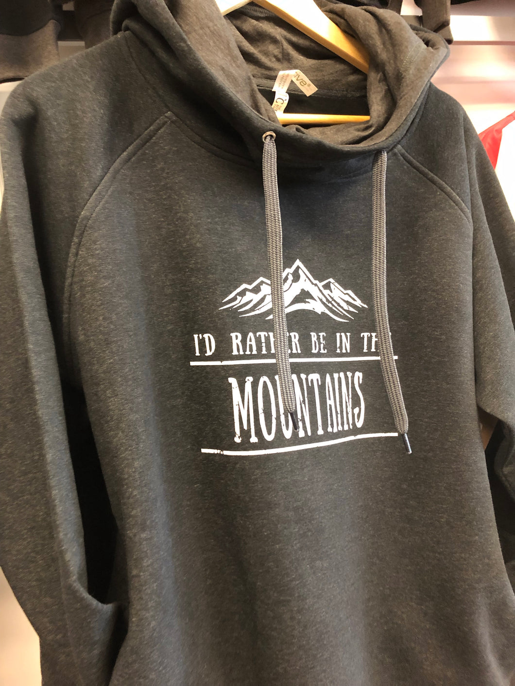I'd rather be in the mountains funnel neck hoodie