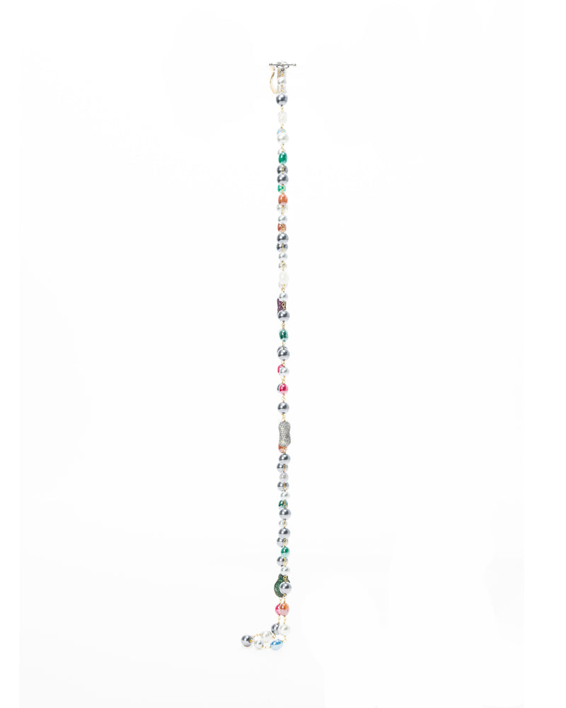 The Joon Necklace is a single string of pearls and semi-precious stones in a variety of hues.