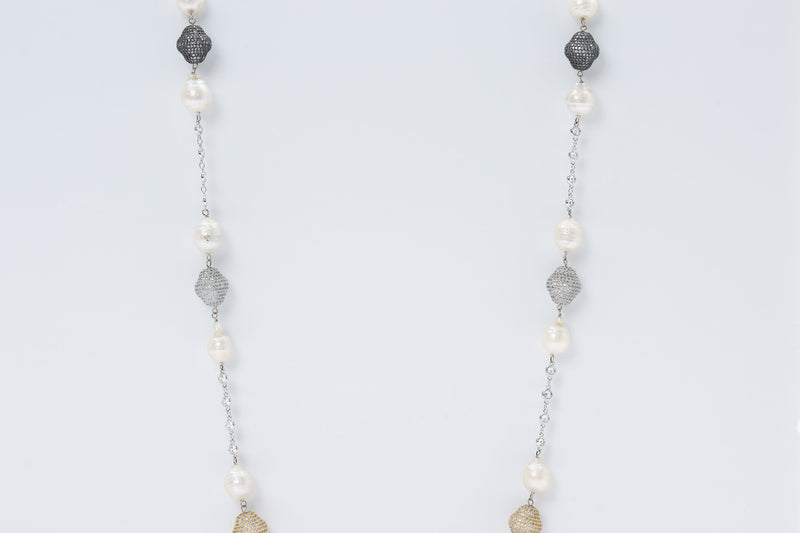 Oxana Necklace (Pearl & Tri Color Nuggets)