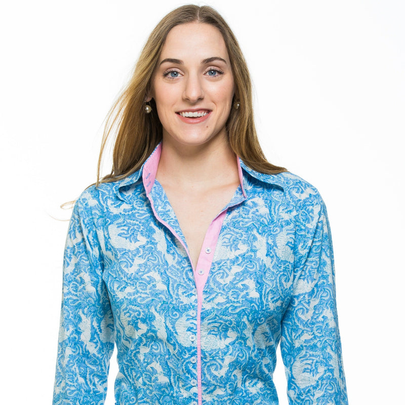 Hand block printed cotton shirt in powder blue with baby pink trim. Embroidery detail in the back of the shirt.