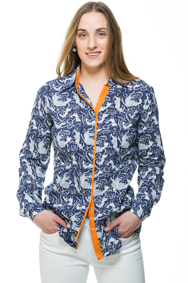 Hand block printed cotton shirt in navy with orange trim. Embroidery detail in the back of the shirt.