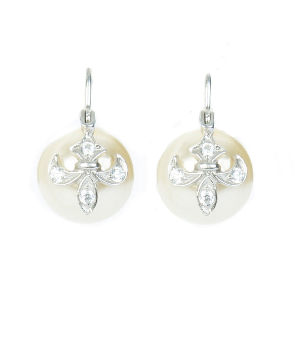 White Pearl and Sterling Silver Drop Earring with Fleur-de-lis detail in sterling silver and Swarovski crystal on pearl.