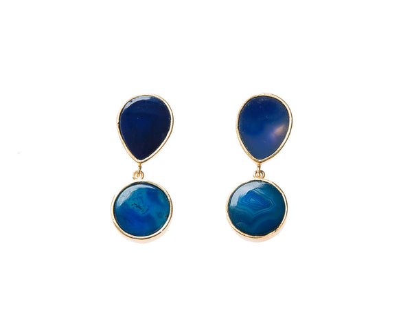 Natural Blue Agate Stone Earrings. 18k electro gold plated.