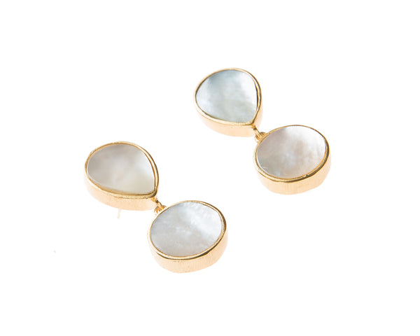 Natural Mother of Pearl Stone Earrings. 18k electro gold plated.