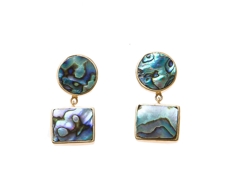 Natural Abalone Stone Earrings. 18k electro gold plated.