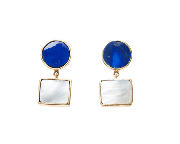 Natural Mother of Pearl and Blue Agate  Stone Earrings. 18k electro gold plated.