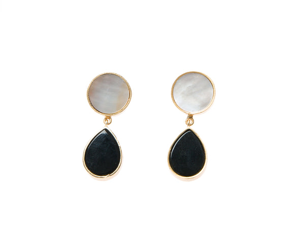 Natural Mother of Pearl and Black Agate  Stone Earrings. 18k electro gold plated.