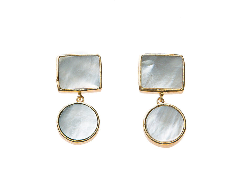 Natural Slate Mother of Pearl Stone Earrings. 18k electro gold plated.