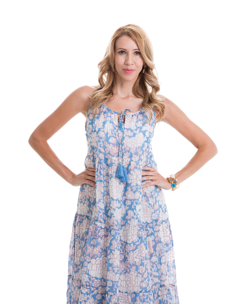 Sustainable hand block printed tiered, sleeveless, ankle length summer dress (pink & blue)