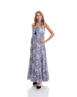 Sustainable hand block printed tiered, sleeveless, ankle length summer dress (blue & pink)