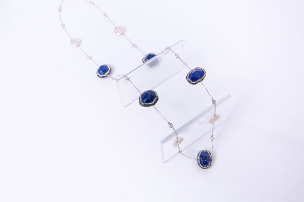 Milly Necklace (Lapis & Flat Pearls)