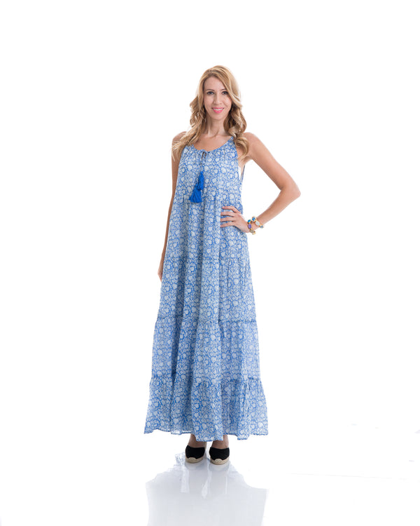 Sustainable hand block printed tiered, sleeveless, ankle length summer dress (blue & white)
